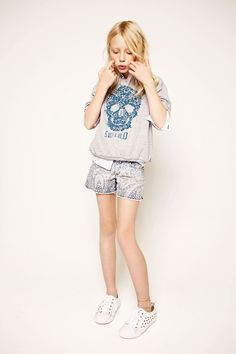 Making a skull shirt like this for my girls ;) love Summer looks kids fashion ss 2013
