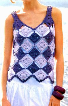 Crochet summer top e ♥️LCT-MRS♥️ with diagrams. --- Tejidos artesanales en crochet: remera en rombos tejida en crochet
