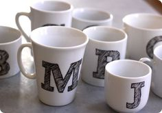 Gabrielle and her daughter used transfer paper to create these monogrammed mugs. After transferring the initial, her daughter used a porcelain pen to fill it in with sketchy diagonal strokes for a fun, imperfect look.