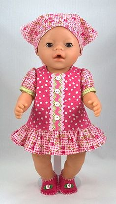 Free Baby Born® Doll Clothes Pattern in English Baby Dress Baby Clothes Patterns, Doll Dress Patterns, Doll Sewing Patterns, Baby Patterns, Clothing Patterns, Pattern Sewing, Crochet Patterns, Sewing Doll Clothes, Sewing Dolls