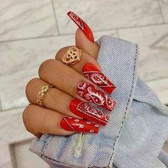 Red Acrylic Nails, Summer Acrylic Nails, Red Nails, Chic Nails, Dope Nails, Nail Polish Designs, Acrylic Nail Designs, Nails Design, Bandana Nails