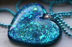 Jewelry  Glitter Heart Necklace Blue Heart Pendant by isewcute, $22.50