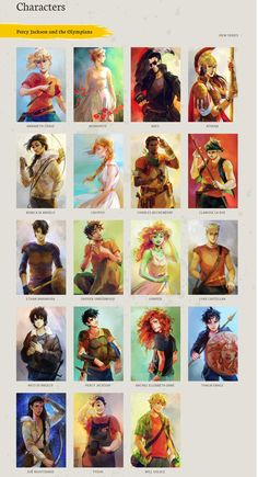 percy jackson characters by viria. is now officially on rick riordan's blog :'D I'm happy now!! #characters