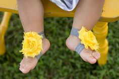 barefoot baby sandals, grey and yellow, baby shoes, toddler shoes, baby accessories, on Etsy, $3.99