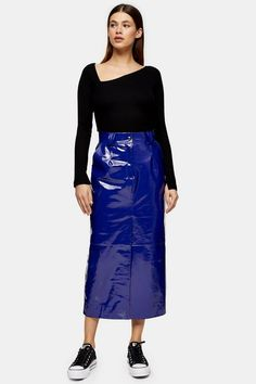 Make A Fashion Statement Like No Other With This Cobalt Blue Vinyl Leather Western Skirt. Designed By Topshop Boutique And Made In The Uk, This Piece Is High-Shine And High-Style. Dry Clean Only. Topshop Outfit, Topshop Style, Topshop Boutique, Asos, Cobalt Blue, Lace Skirt, High Fashion, Leather Skirt, High Waisted Skirt