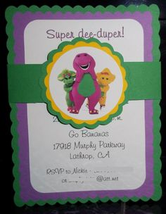 Barney and Friends  Happy Birthday Invitations by mimskd on Etsy, $10.00