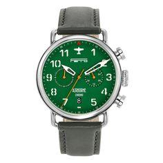 Ferro Airborne Stainless Steel Pilot Watch (Hybrid Mechaquartz Movement) GreenFace / Grey Strap
