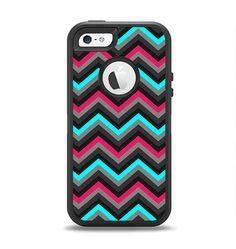 The Sharp Pink & Teal Chevron Pattern Apple iPhone 5-5s Otterbox Defender Case Skin Set