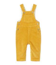 mustard yellow velour overalls // petit bateau
