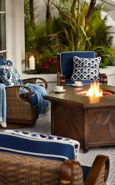 Flickering firelight from our St. Martin Chat Set with Cast-Aluminum Fire Table will warm your outdoor conversation area. Porches, Four Seasons Room, Rhapsody In Blue, Fire Table, Outdoor Garden Furniture, Outdoor Areas, Outdoor Rooms, Porch Decorating, Outdoor Living