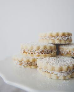 Alfajores (Little Shortbread Cookies Filled with Dulce de Leche & Rolled in Coconut)//
