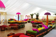 Colourful Indian Wedding Marquee with gorgeous umbellas. A parquet dance floor is under the front seating Marquee Decoration, Tent Decorations, Indian Wedding Decorations, Marquee Events, Marquee Hire, Marquee Wedding, Mehndi Decor, Mehendi, Bollywood Theme