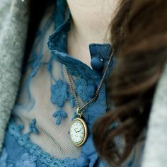 blue lace and a clock locket