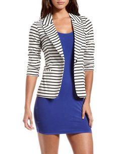 Great, cheap blazer for the fall!  Striped Ponte Boyfriend Blazer: Charlotte Russe