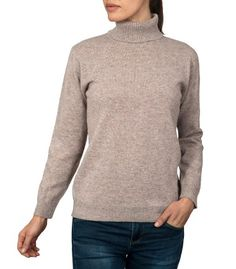 Beige Polo Neck Jumper   Mens & Womens   Pure Lambswool Sweater