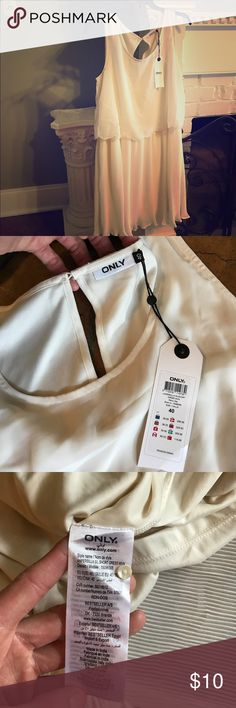 Ivory sun dress by only sz M/L NWT I don't know where I bought this??? Literally don't know??? It's an Italian brand, and it's a sz it40. But I would say this dress would fit a lg best. It's not supposed to be a tight fitting dress, but it's a good bit too big for me so I'd say a sz LG would fit in this well, maybe even a sz medium on the larger side. ONLY Dresses