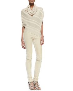 Striped Asymmetric Cowl-Neck Sweater & Suede-Front Paneled Pants by Donna Karan at Bergdorf Goodman.