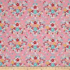 Riley Blake Forget-me-not Main Pink from @fabricdotcom  Designed by Tammie Green for Riley Blake, this cotton print fabric features colorful flowers and is perfect for quilting, apparel and home decor accents. Colors include white, red, gold and shades of pink and blue.