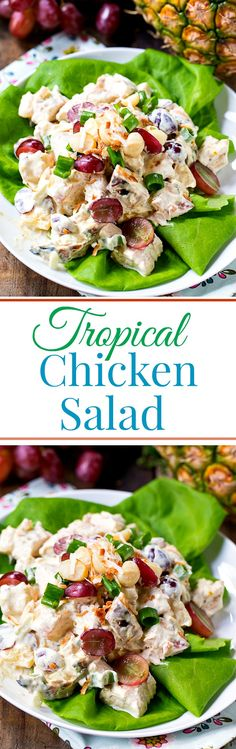 Tropical Chicken Salad Tropical Chicken Salad is full of red grapes, pineapple, macadamia nuts, and shredded coconut for a tropical twist on chicken salad. Packed full of sweet and savory flavors, this is anything but a bland chicken salad. Chicken Salad Croissant, Chicken Salad Recipes, Chicken Salads, Hawaiian Chicken Salad, Chicken Flavors, Chicken Meals, Soup And Salad, Pasta Salad, Food Salad