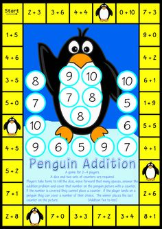 Free numeracy resources for classrooms, teachers and parents. Included will be printable games and activities. 1st Grade Math, Kindergarten Math, Teaching Math, Addition Games, Math Addition, Math Stations, Math Centers, Math Worksheets, Math Activities
