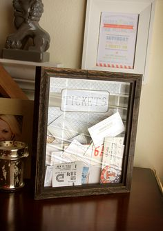 A project I did last month.   Ticket stub shadow box / frame / display. DIY, printable, free.
