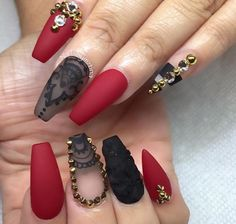 Matte maroon n black nail do with studs & crystals