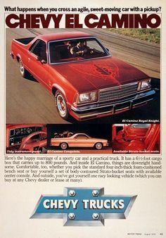 1979 Chevrolet El Camino Royal Knight original vintage advertisement. With 6.5 foot box 800 lbs. cargo capacity. The happy marriage of a sporty car and a practical pickup truck. Also view of El Camino Conquista model trim.