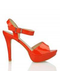Tropic of Mango - Womens orange patent platform sandal high heel shoes