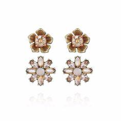 Nwt! Gardenia Stud Duo Earrings