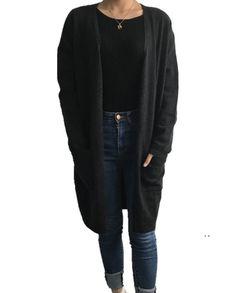 Damen Kaschmir Long Strickjacke Cardigan dunkel anthrazit Cardigan Lang, Black Jeans, Sweaters, Pants, Fashion, Dark, Jackets, Cast On Knitting, Trouser Pants