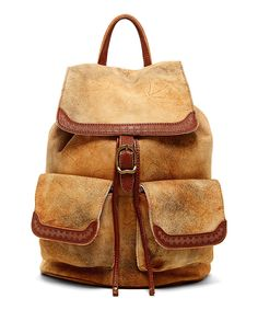 OLD TREND Camel Cozy Leather Backpack by OLD TREND #zulily #zulilyfinds