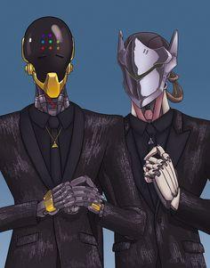 Overwatch Zenyatta and genji as Daft punk