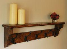 Vintage Pine Coat Rack Shelf, Hat Clothes Robe Holder Hook Wall Hanger Shelving