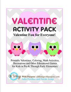 Valentine Activity Pack {FREE} via @tipjunkie