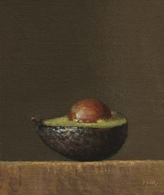 """Avocado Half ( Musings on a Painting Subject)"" - Original Fine Art for Sale - © Abbey Ryan"
