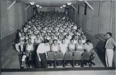 Theater at Camp Hearne where prisoners put on their own performances.  The front row was reserved for camp officials