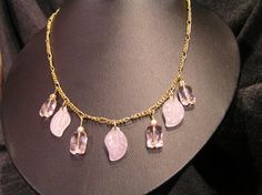 Pink and Gold Leaf Necklace by LakeErieHarmony on Etsy, $17.00