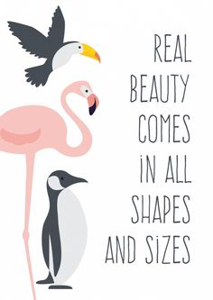 Poster Beauty A4 Poster met flamingo, toekan en pinguin en de mooie quote Real beauty comes in al shapes en sizes. A4 formaat, 250 grams papier. decoratie kinderkamer babykamer meisjeskamer meisje
