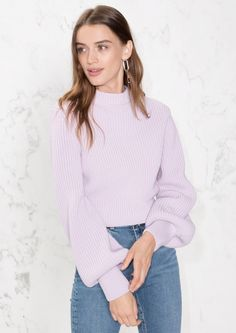 & Other Stories image 1 of Cropped Mock Neck Sweater in Lavender
