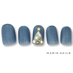 Christmas winter holidays 2016 2017 dreamy night blue golden precious nail art