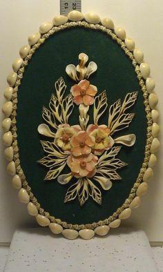 Vintage Stash - VS00103 - Handmade Shell flower wall hanging green background