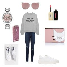 """Без названия #34"" by ashulka ❤ liked on Polyvore featuring Paige Denim, Yves Saint Laurent, adidas, Karl Lagerfeld, Valentino, Christian Dior and Rolex"