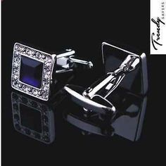 #Quality men's silver black/blue crystal #square cufflinks #wedding cuff links , View more on the LINK: http://www.zeppy.io/product/gb/2/151892773624/