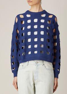 Maison Martin Margiela Blue Square Knit Pullover