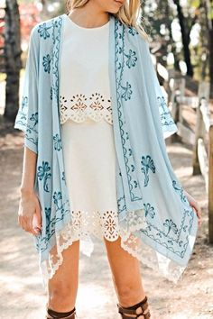 Lightweight lace scallop trim embroidered kimono with armholes. Breezy, light, and fashionable.   Lovely-N-Lace Kimono by Leto. Clothing - Jackets, Coats & Blazers - Kimonos & Wraps Fayetteville, Arkansas