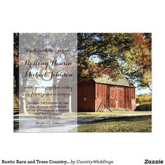 "Rustic Barn and Trees Country Wedding Invitation 4.5"" X 6.25"" Invitation Card"