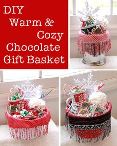 DIY Warm and Cozy Chocolate Gift Basket Ideas - I think I will be making one of these for a diy Christmas gift this year.