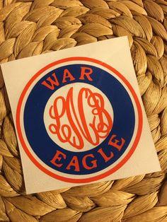 War Eagle Auburn Monogram Decal by MiltonMonograms on Etsy