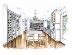 Kitchen Design – Page 3 – Mick Ricereto Interior + Product Design Interior Design Renderings, Interior Design Process, Drawing Interior, Interior Rendering, Interior Sketch, Room Interior Design, Kitchen Interior, Interior Architecture, Kitchen Design