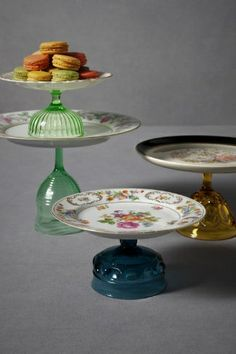 Vintage Cake Plate-choose plates with scalloped edges to serve various desserts. Staggered heights adds interest,